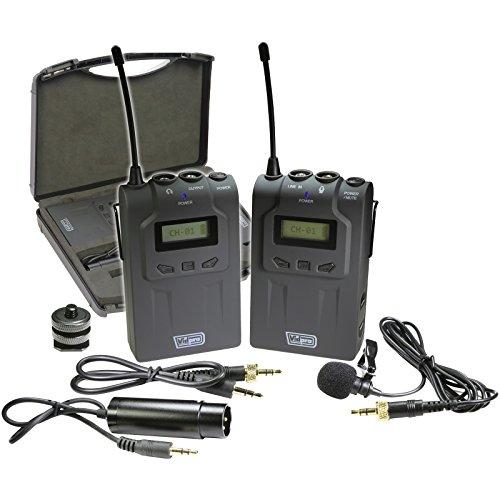 of vidpro wireless mics Vidpro XM-W4 Professional UHF Wireless Microphone System with Lavalier & Case