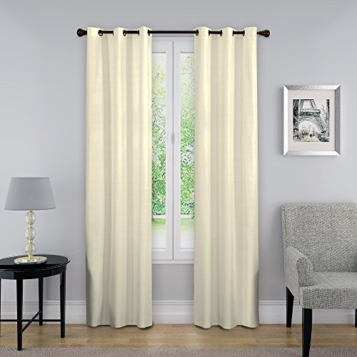 """ECLIPSE Blackout Curtains for Bedroom-Nikki 40"""" x 84"""" Insulated Darkening Single Panel Grommet Top Window Treatment Living Room, Ivory"""