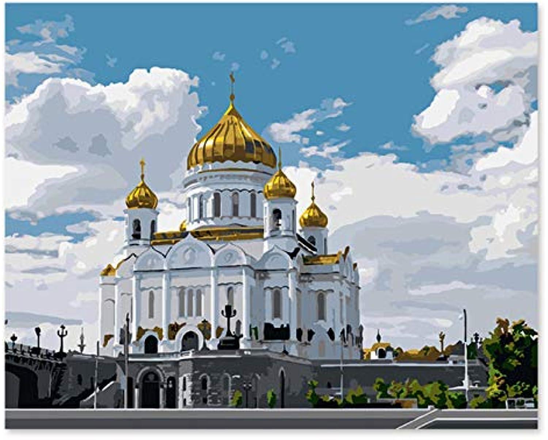Superlucky DIY Digitale Malerei, Jesus, Retter, Kathedrale, Moskau, Russland, Russland, Russland, Ornament, Kunsthandwerk 40x50cm mit Rahmen B07K4J64HG | Zuverlässige Leistung  cdd101