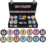 Texas Hold'em Poker Fichas Conjunto con Estuche de Cuero y manteles de Mesa y Conjunto de Botones 15.5g / PC Aom Poker Chips Sets Clay Casino Poker Chips 200/300 / 400pcs / Set