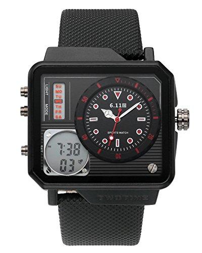 JSDDE Uhren Herren Armbanduhr LCD Digital Quarz Dual Uhrwerk Lederband Quarzuhr 3ATM Wasserdicht mit Kalender Datum Wecker Stoppuhr Fitness Armbanduhr (Schwarzes Gehäuse-Rote Schrift)