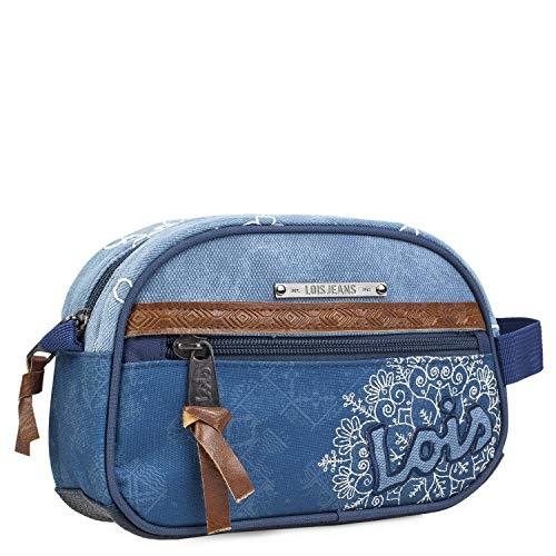 Lois - Neceser de Viaje, Bolsa de Aseo de Lona Estampada y Bordada Flores. asa Lateral práctica cómoda y Bonito diseño Marca Moda y Calidad. 301527, Color Azul