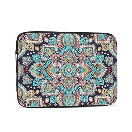 Indian Floral Ethnic Mandala Ornament Henna Tattoo Style 13 Inch Laptop Sleeve Bag Compatible with 13.3' Old MacBook Air (A1466 A1369) Notebook Computer Protective Case Cover
