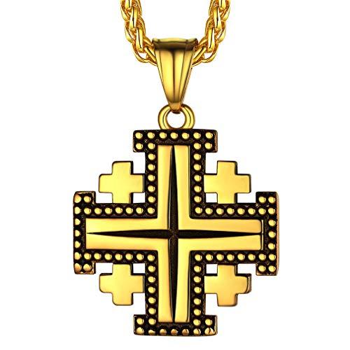 FaithHeart Cruzadas Jesusalén Caballeros Templarios Collares Dudaderos Acero Inoxidable 316L Chapado en Oro Amarillo 18K Joyerías Culturismo para Hombres Mujeres