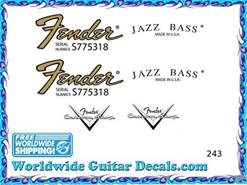 Fender Jazz Bass Guitar Decal Headstock Waterslide Restoration logo 243