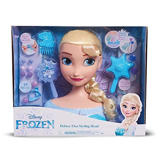 La Reine des Neiges - Elsa, Tête à Coiffer Deluxe, 19 Accessoires de Coiffure inclus, Change la Couleur des Cheveux, Jouet pour Enfants dès 3 Ans, FRN79