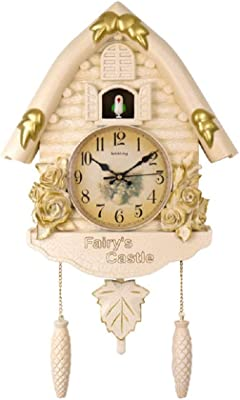 TOOWE 24 Inch Handcrafted Cuckoo Wall Clock Home Art with Chirping Bird for Living Room Bedroom