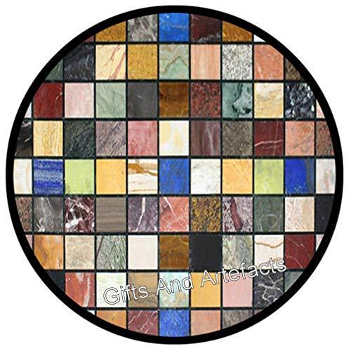 Gifts And Artefacts - Mesa de centro de mármol, 21 pulgadas con piedras preciosas