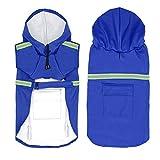 okdeals Dog Raincoat Leisure Waterproof Lightweight Dog Coat Jacket Reflective Rain Jacket with Hood for Small Medium Large Dogs(Blue,XXL)