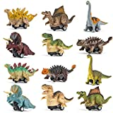 BOKABOKA 12 Pcs Realistic Looking Dinosaur Toys,Pull Back Dinosaur Car Vehicle Toys for 3 4 5 6 7 8 Year Old Kids Children Toddlers Boy Girls Christmas Birthday Easter Gifts Party Favor Lovers