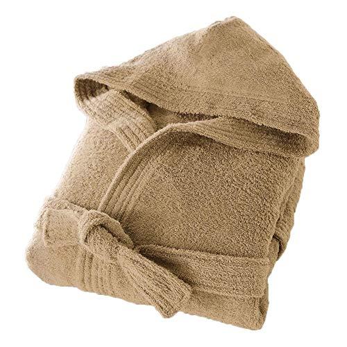 Slumber Nights Cotton Terry Towelling Hooded Bathrobes dressing Gown Unisex (Latte, Medium)