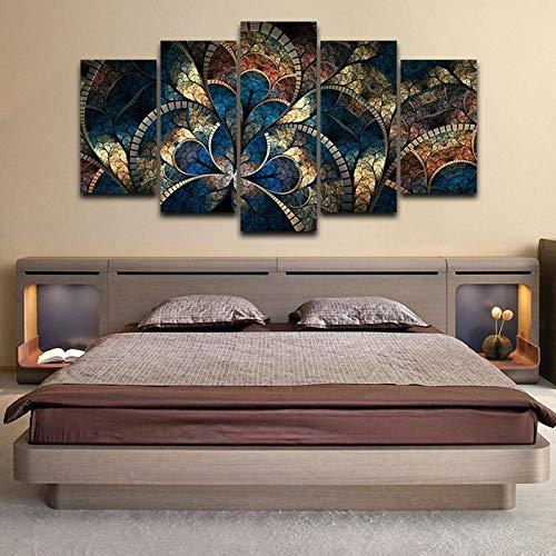 Jia Arte ™ Große 5 Panel Leinwand Wandkunst Rote Und Grüne Gemälde Mohnblume Bild Golden Sunset Skyline Poster Und Drucke Zeitgenössische Kunstwerke Home Decor Wohnzimmer 200 x 100 CM - 5 Fotos Gedru