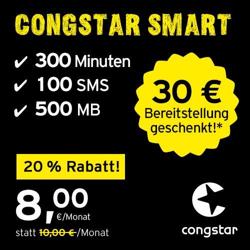 congstar Smart Tarif [SIM, Micro-SIM und Nano-SIM] monatlich kündbar (8,00 Euro/Monat, 500 MB Datenflat mit max. 21 Mbit/s, monatlich 300 Minuten und 100 SMS) in bester D-Netz-Qualität