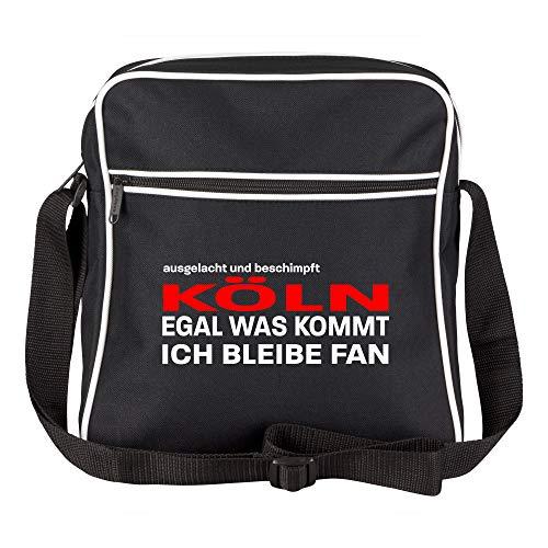 Schultertasche ausgelacht und beschimpft - Köln - Egal was kommt, ich bleibe Fan schwarz - Köln Kölner Fußball Tasche Fanartikel