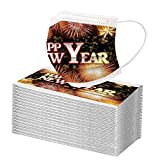 MMOOVV 100 Stück Mundschutz mit Weihnachten 2021 Happy New Year's Day Face Bandana Halstuch Schals Lustige Multifunktionstuch Herren Damen Atmungsaktive Mund und Nasenschutz Face Mouth