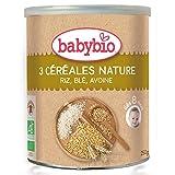 Babybio - Trois céréales nature 250g - La boite de 250g - (pour la quantité plus que 1 nous vous remboursons le port supplémentaire)