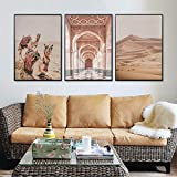 LLXXD Camello nórdico Desierto Marruecos Puerta Paisaje Carteles e Impresiones Arte de la Pared Lienzo Pintura Cuadros de Pared para la decoración del hogar de la Sala de estar-50x70cmx3 (sin Marco)