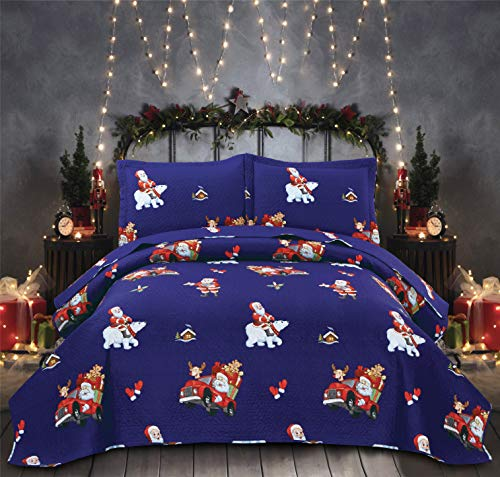 Blue Christmas Bedding Set with Santa Claus, Reversible Lightweight Bedspread Coverlet Set Twin King(96x108 inches) Cars White Bear Lodge Microfiber Thin Quilt Bedding Set for Xmas Gift (Blue,King)