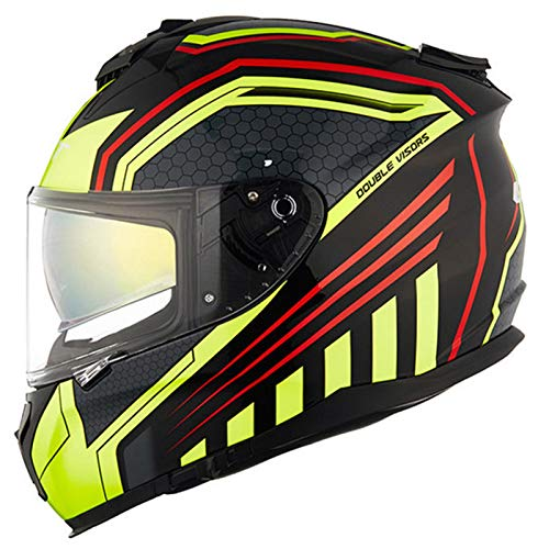 Casco de Moto Integral ECE Homologado Casco de Moto de Carretera Integral con Doble Visera Parasol Anti Niebla Abatible Casco para Carreras de Motocross para Hombres y Mujeres I,L