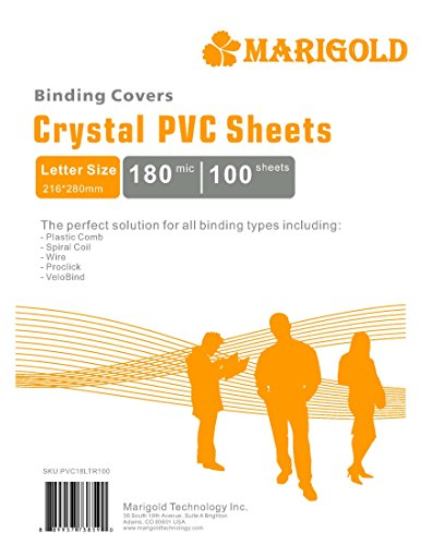 Crystal Clear Binding Covers Presentation Covers - MARIGOLD 100 Pack, 8 mil Letter Size Plastic Covers for Paper, Clear Report Covers, Compatible with GBC, Fellowes and Trubind Binding Machines