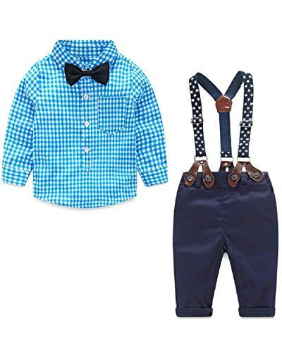 Yilaku Bebés 4Pcs Trajes de Bautizo Camisa a Cuadros+ Tirantes Pantalones, Niños Formales Fiesta Conjuntos de Ropa de Bebé Caballero 0-4 años(Azul,2-3 años)
