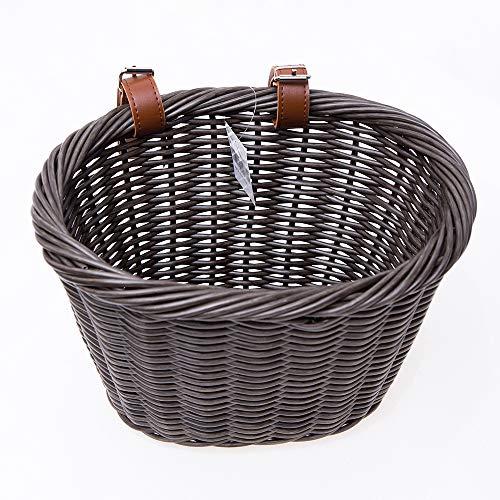 ZUKKA Handlebar Bike Basket,Front Handlebar Adult Storage Basket, Waterproof with Leather Straps,Bicycle Accessory-Brown
