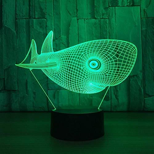 WEHOLY Night Light Home Study Mignon Tête Requin USB Lampe de Table Night Light 3D Light LED Light Enfants Night Light Vision LED Night Light Illusion Mood Green