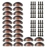 24 tiradores para cajones y cajones, estilo antiguo, estilo vintage, , tiradores para muebles antiguos, semicirculares, con tornillos, para gabinete, cajón, armario de farmacia (bronce rojo)