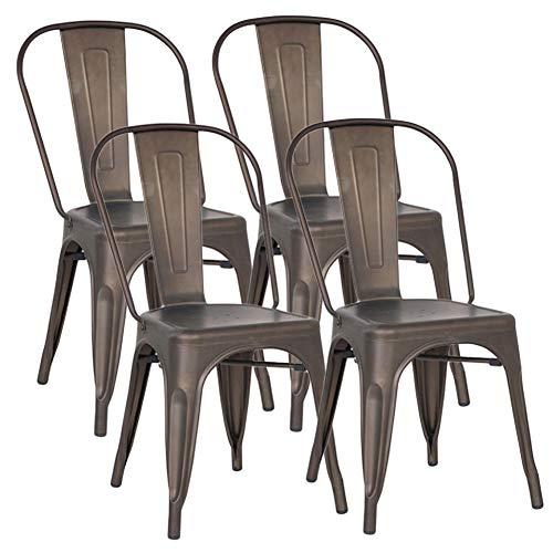 Set di 4 Sedie da Pranzo in Metallo, con Schienale Stile Vintage Impilabile Design Industriale ,per Ristoranti, per Matrimoni, Caffè, Patio (Marrone)