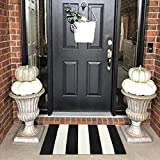 LEEVAN Cotton Print Area Rug 18' x 28' Black&White Striped Doormat Machine Washable Woven Fabric Non-Slip Doormat for Kitchen Floor Laundry Living Room