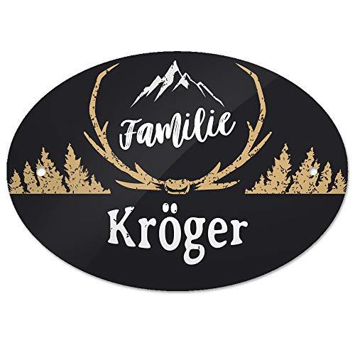 Eurofoto Türschild mit Namen Familie Kröger und rustikalem Motiv mit Geweih | für den Innenbereich | Klingelschild mit Nachnamen