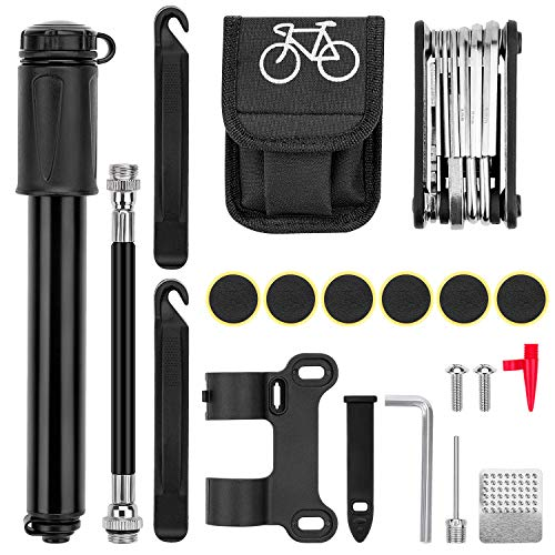 Awpeye Bike Pump, Mini Bike Pump Kit with Bicycle Multitool, Bike Tire Repair Kit Tire Levers and Self-Adhesive Patches Presta and Schrader Valve for Mountain & Road Bikes, Sports Ball