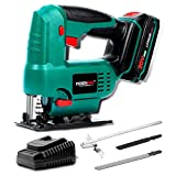 Cordless Jig Saw,POSENPRO 20V Orbital Jig Saw 0-2400SPM Jigsaw Tool with Battery and Charger,3/4 Inch Stroke Length,4-Stage Orbital Setting for Woodworking