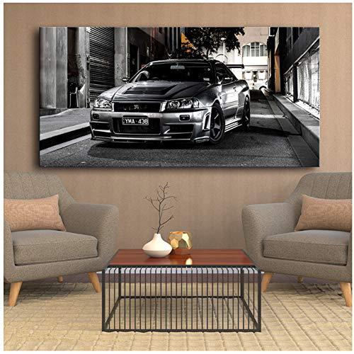 Canvas Schilderijen HD Print Geen Frame Sportwagen Kunstwerk Moderne Nissan Skyline Gtr Car Pictures Nachtkastje Home Decor Wall Art Posters-50x100cm Geen Frame