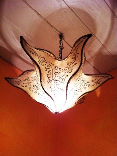 Oosterse lamp hanglamp Daya natuur 50 cm groot | Marokkaanse lederen lamp hennalamp lamp lamp met henna | Orient lampen voor woonkamer keuken of hangend boven de eettafel