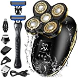 Head Shaver, Orihea Electric Razor Men 6-in-1 Electric Shaver with Manual Shaver Wet Dry Bald Head Shaver 5D Floating USB Rechargeable Nose Hair Shaver IPX7 Waterproof
