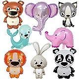 Conruich Globo papel de aluminio 8 piezas con animales, globos con cabeza animal enorme, globo papel aluminio, globos animales la selva, globos animales dibujos animados para niños, se permite helio