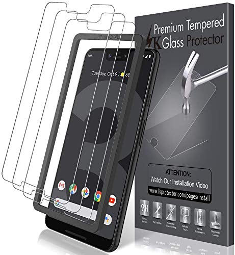 LK[3 PACK] ScreenProtector ForGoogle Pixel 3 XL TemperedGlass (AlignmentFrameEasyInstallation)Double DefenceTechnology, 9H Hardness, HD Clear, CaseFriendly