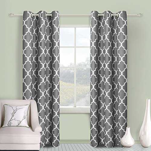 "Awad Home Fashion 2 PC Microfiber Window Treatment Grommet Top Curtian Panel Drapes Geometric Style Trellis Print, WCS-11 (45"" W x 84"" L, Gray)"