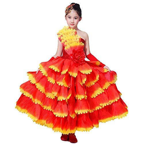 LOLANTA Meisjes Flamenco Dans Kostuum Kind Bloem Spaanse Flamenco Prestaties Jurk