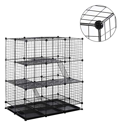 PawHut DIY Pet Playpen Wire Rabbit Cage for Chinchillas, & Small Animals with 6 Independent Trays, Black