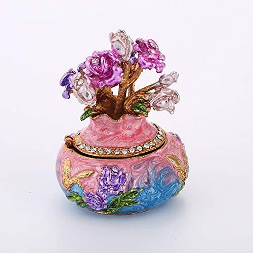 HMSCC Caja jarrón Diseño de joyería con Diamantes de imitación Inicio Sala de Estar Cuarto de Caja de Almacenamiento de decoración Artesanal de Regalo (Color : Rosado)