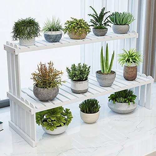 Porte-fleurs Palier en bois double couche Intérieur, salon, balcon Plantes vertes, plantes en pot Support pour pots de fleurs Étagère (Couleur : B, taille : 70 * 25 * 40cm)