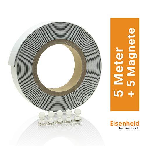 Eisenheld Metallband selbstklebend, Set inklusive 5 Magnete | Eisenband 5m Weiß | auch bekannt als Ferroband, Magnetband, Magnetstreifen, Magnetleiste, Bilderleiste, Magnetfolie, Magnet-Klebeband
