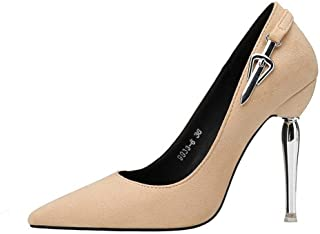 LUKEEXIN Women's Sexy Pointed High Heels Slim Single Shoes Suede Plated with Wild Stiletto Women's Shoes