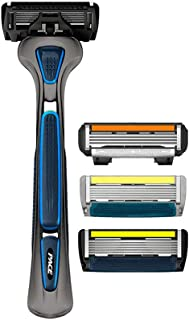 LetsShave Shaving Razor Trial Pack + FREE Razor Cap (Blue Handle)