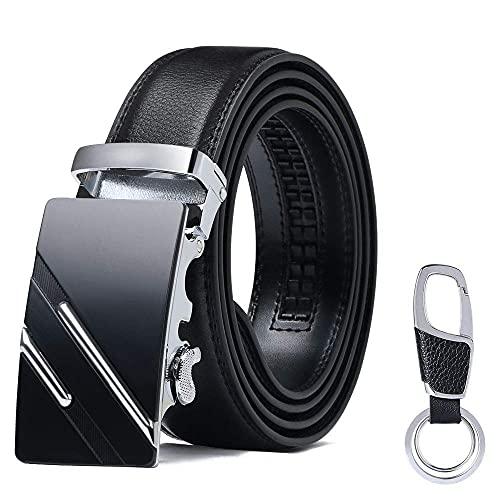flintronic Herren Gürtel,Hochwertiges Leder material Ratsche Automatik Gürtel für Männer Ledergürtel Breite 3.5cm Länge 127CM-Schwarz (inkl Schlüsselbund & Geschenkbox)