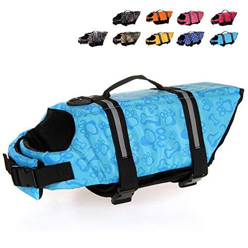 HAOCOO Dog Life Jacket Vest Saver Safety Swimsuit Preserver with Reflective Stripes/Adjustable Belt Dogs?Blue Bone,XL
