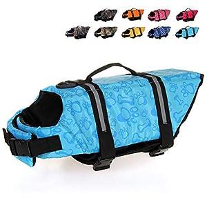 HAOCOO Dog Life Jacket Vest Saver Safety Swimsuit Preserver with Reflective Stripes/Adjustable Belt Dogs?Blue Bone,L