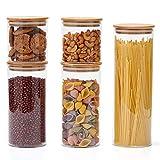 EZOWare 5er Set Glas Vorratsdosen, Vorratsgläser aus Borosilikatglas Küche Lebensmittel Lagerung Behälter mit Bambus Deckel - 2100ml / 1400ml / 600ml